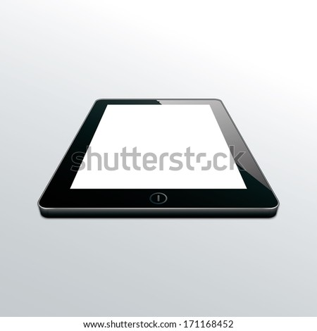 tablet black. perspective view. (rasterized version) - stock photo