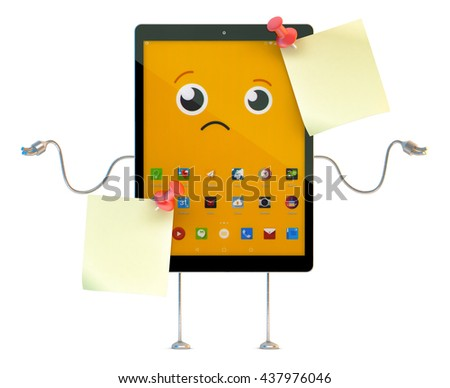 Tablet cartoon character with sticky notes. 3D illustration.  - stock photo