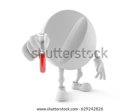 Tablet character with sample isolated on white background. 3d illustration