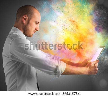 Tablet colour burst - stock photo