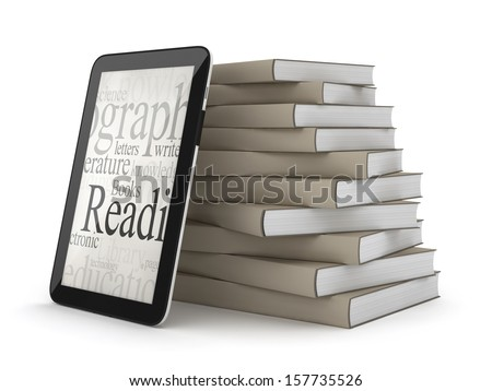 Tablet computer and books on white background - stock photo