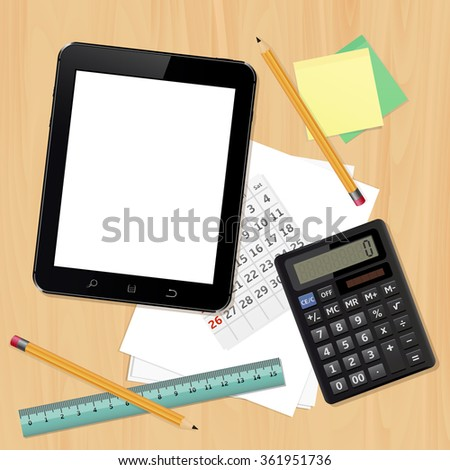 Tablet computer, calculator, calendar, paper sheets, ruler and pencils on wooden table - stock photo