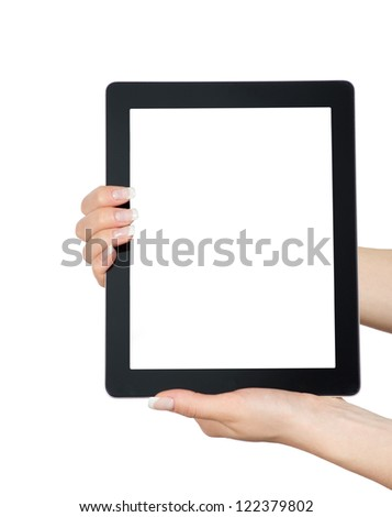 tablet computer in a hand - stock photo