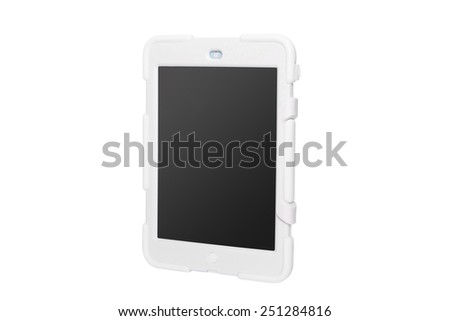 Tablet computer in a military case. white - stock photo