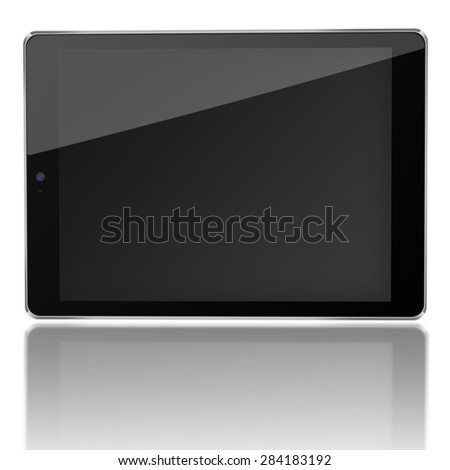 Tablet computer ipad style mockup with black screen and reflection isolated on white background. Highly detailed illustration. - stock photo