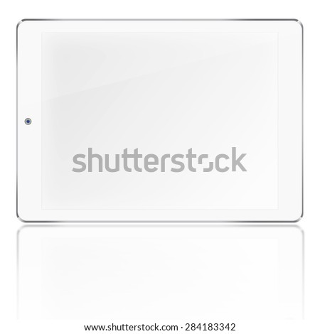 Tablet computer ipad style mockup with blank screen and reflection isolated on white background. Highly detailed illustration. - stock photo