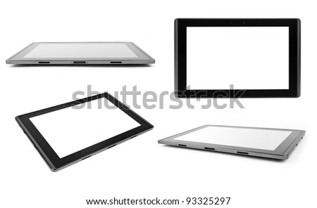 tablet computer isolated on the white backgrounds. collection - stock photo