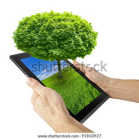 tablet computer isolated on the white backgrounds. tree