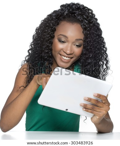 Tablet computer. Isolated on white background. Beautiful race african. - stock photo