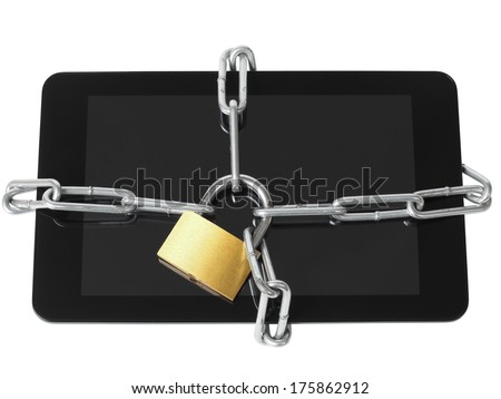 Tablet computer locked with padlock and chain - stock photo