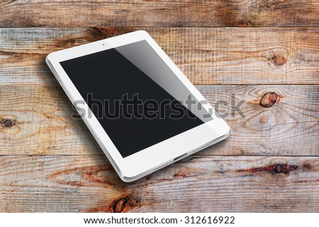 Tablet computer with black screen ipade style mockup on wooden background. Highly detailed illustration. - stock photo