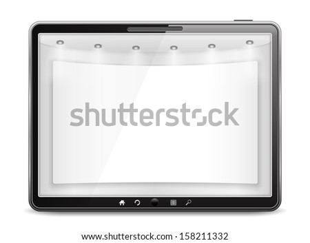 Tablet computer with blank banner on the screen - stock photo