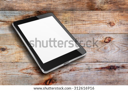 Tablet computer with blank screen ipade style mockup on wooden background. Highly detailed illustration. - stock photo