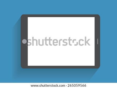 Tablet computer with blank screen. Using digital tablet pc, flat design concept - stock photo
