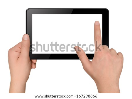 Tablet computer with hands isolated on white background - stock photo
