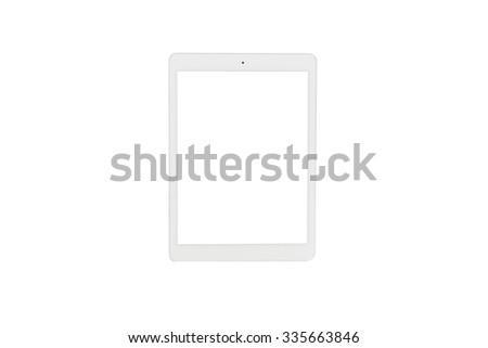 tablet computer with isolate screen on white background - stock photo