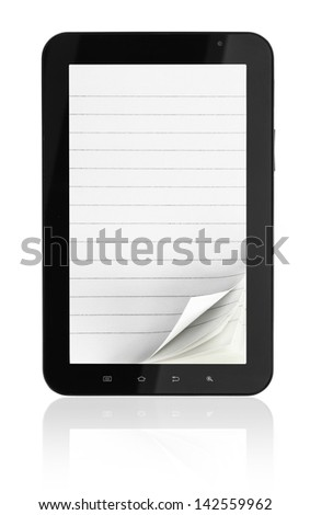 Tablet computer with notebook pages on white background - stock photo