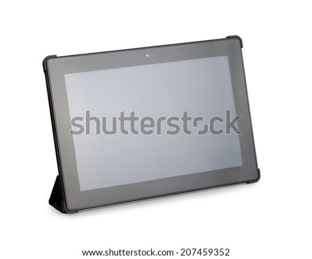 Tablet computer with stand on a white background