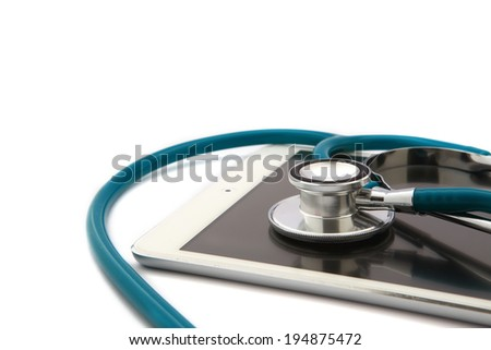 Tablet Computer With Stethoscope, Isolated On White Background