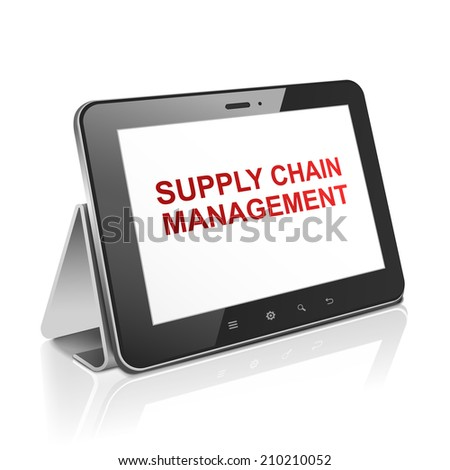 tablet computer with supply chain management on display over white  - stock photo