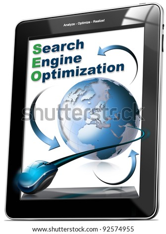 Tablet computer with written SEO, search engine optimization - stock photo