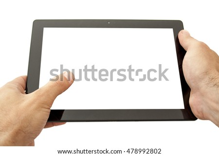 Tablet computer with your text in the hands.