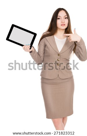 Tablet computer. Woman using digital tablet computer PC isolated on white background - stock photo