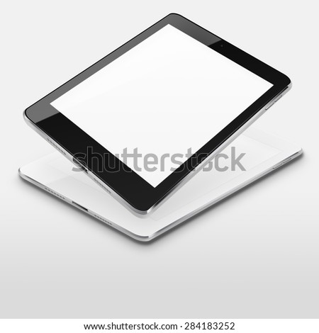 Tablet computers ipad style mockup with blank screens on gray background. Highly detailed illustration. - stock photo