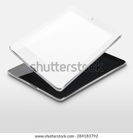 Tablet computers ipade style mockup with blank and black screens on gray background. Highly detailed illustration. - stock photo
