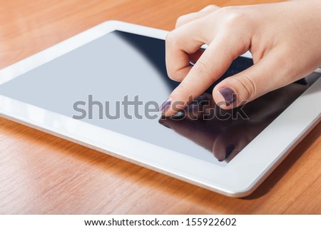 Tablet electronic assistant for access to the outside world - stock photo