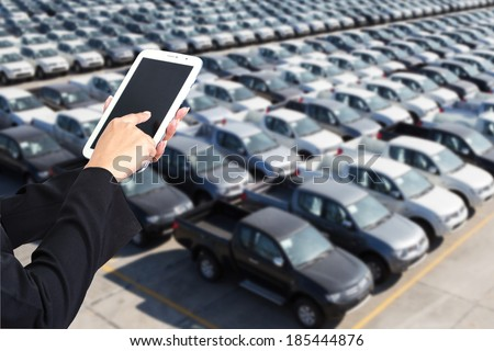 Tablet for business. About Automotive - stock photo