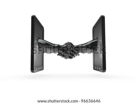Tablet handshake - stock photo