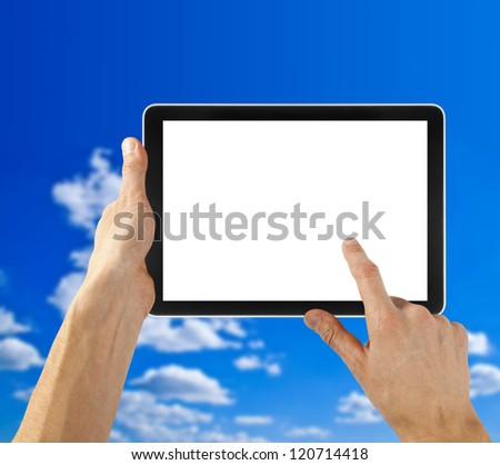 Tablet in hand for advertisement. computer backgrounds