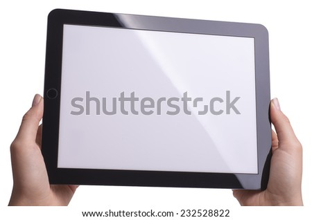 Tablet in hand isolated - stock photo