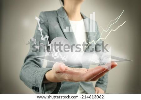 tablet in hands - stock photo