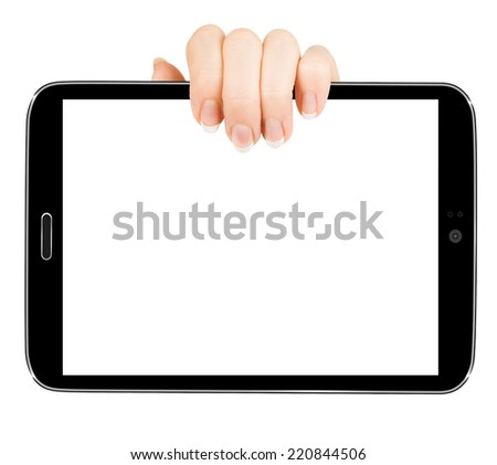 Tablet isolated on white background with two hands in a position - stock photo