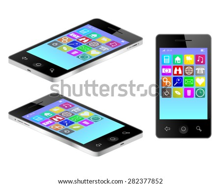Tablet mobile phone in three views illustration  - stock photo
