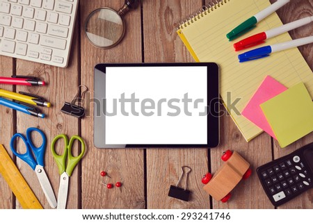 Tablet mock up template with school supplies. Back to school concept - stock photo