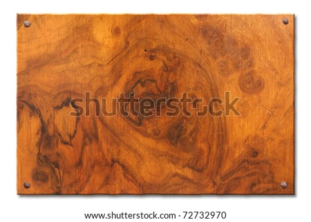 tablet of knotty root's wood with old nails,  blank wooden banner for sign and inscription, isolated with clipping path - stock photo