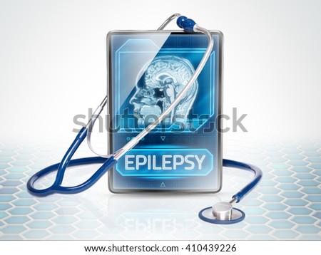 Tablet on futuristic background displaying epilepsy diagnosis - stock photo