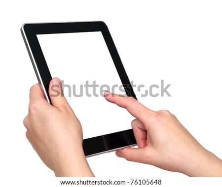 tablet over white background