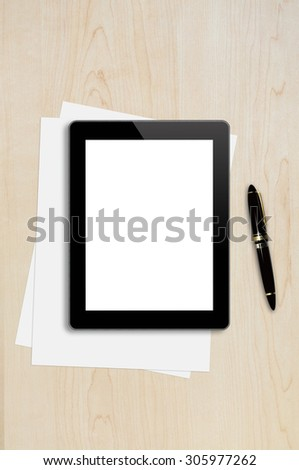 Tablet ,Page,Pen on wood table background texture with copy space and text space