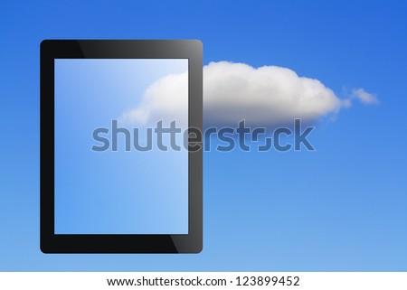 tablet pc and cloud as concept of a cloud computing - stock photo
