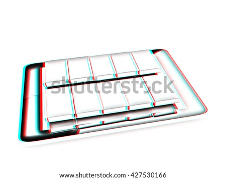 tablet pc and colorful real books on white background. Pencil drawing. 3D illustration. Anaglyph. View with red/cyan glasses to see in 3D.