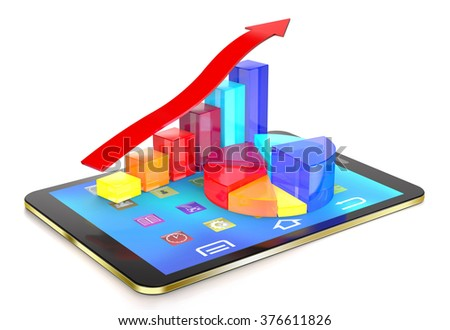 Tablet pc and diagram of glass bars and red arrow show success. - stock photo