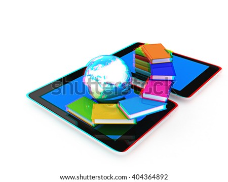 tablet pc and earth with colorful real books  on white background. 3D illustration. Anaglyph. View with red/cyan glasses to see in 3D. - stock photo