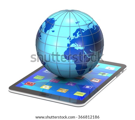 Tablet pc and globe on white background. - stock photo