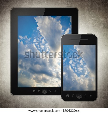 Tablet pc and mobile phone - stock photo
