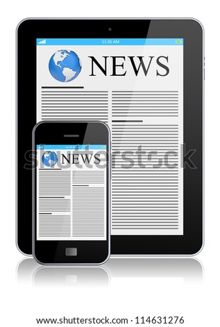 Tablet PC and mobile phone with news on a screen. Technology concept. 3d image