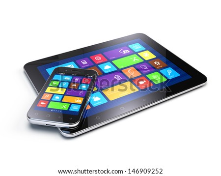 Tablet PC and Mobile Smartphone - stock photo